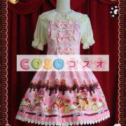 ジャンパースカート ピンク・ブラウン クリーム猫 リボン 可愛い ―Lolita0330 2