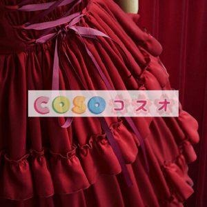 ロリィタワンピース ワインレッド コットン レトロ スクエアネック パーティー シャーリング 半袖  ―Lolita0359