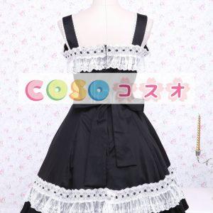コットン ブラック ジャンパースカート ロリィタジャンパースカート レーストリム リボン ―Lolita0428