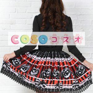 ブラック ポリエステル ロリィタスカート ショットスカート カボチャプリント シャーリングウェスト ―Lolita0444