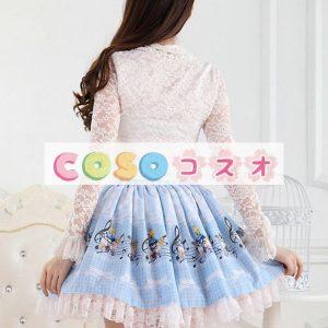角ブルー レース ポリエステル ロリータ スカート ―Lolita0458