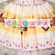 スウィート イエロー ロリィタスカート レーストリム ケーキプリント ―Lolita0486 2