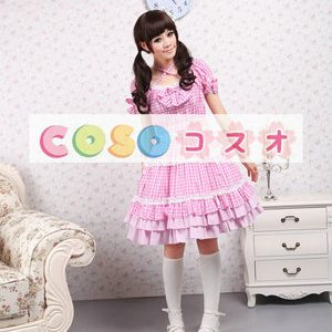 ロリータドレス,甘ロリ ピンク 縞模様 リボン スクエアネック ホルター ―Lolita0526
