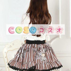 ロリータ服 プリント柄 レース付き スイート  ―Lolita0540