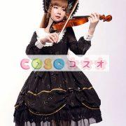 女性のための黒弓シフォン カントリーロリータ ドレス ―Lolita0601 2