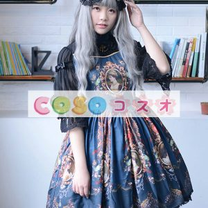 ロリィタワンピース レトロ 合成繊維 パーティー プリント柄  ―Lolita0665