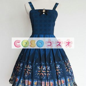 ブルゴーニュ印刷ロリータ ドレス ストラップ シフォン ―Lolita0792