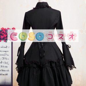 コットン ロリィタワンピース レーストリム 長袖 ブラック  ―Lolita0852