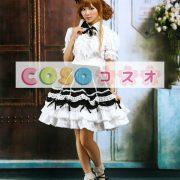 ロリィタ服 セットアップ ホワイト&ブラック フリル レーストリム ―Lolita0899 2