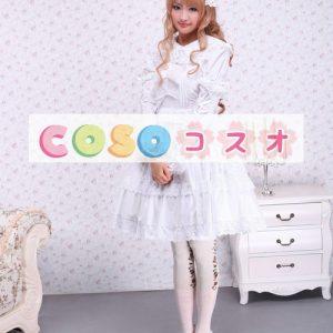 ホワイト ロリィタワンピース 長袖 レーストリム ―Lolita0098