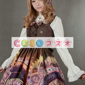 紫のロリータ ドレス ストラップ プリント シフォン ドレス ―Lolita0791
