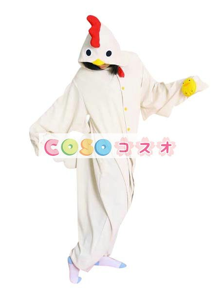 鶏さん パジャマ 着ぐるみ コスチューム 大人用 ホワイト―festival-0005