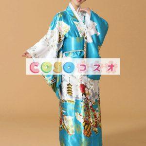 青多色着物花プリント シルク日本大人用コスプレ衣装―festival-0661
