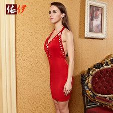 クラブドレス,レッド  ホルターネック バックオープン ストラップ調節可能 -halloween-trz0725-0214