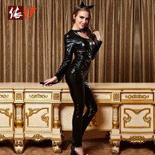 黒のジッパー スーツ ポリエステル ポールダンス コスチューム大人用 -halloween-trz0725-0248