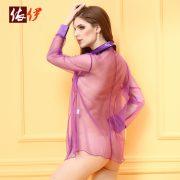 誘惑 シャツ 透明な スパンデックス セミシアー(半透明) インドア 女性用 -halloween-trz0725-0271 2