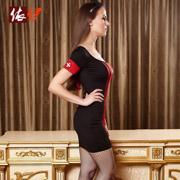 コスチューム衣装 看護師 セクシー ハロウィン ナース服 ブラック 大人用 女性用 -halloween-trz0725-0326