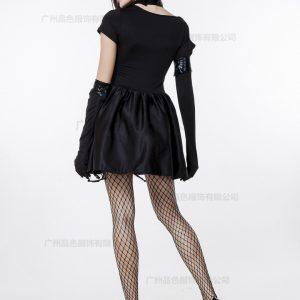 ハロウィン 警官 ポリス 警察 婦警 新作 シザーハンズ風 ブラック ダンス イベント パーティー 仮装 コスチューム コスプレ 衣装-Halloween-trw0725-0018