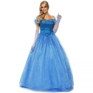 ディズニープリンセス ブルー シンデレラ プリンセス シンデレラ 大人用 コスプレ 衣装-Halloween-trw0725-0127