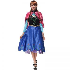Cosplay 映画 アナと雪の女王 Anna 大人用 コスプレ 衣装 プリンセス -Halloween-trw0725-0128