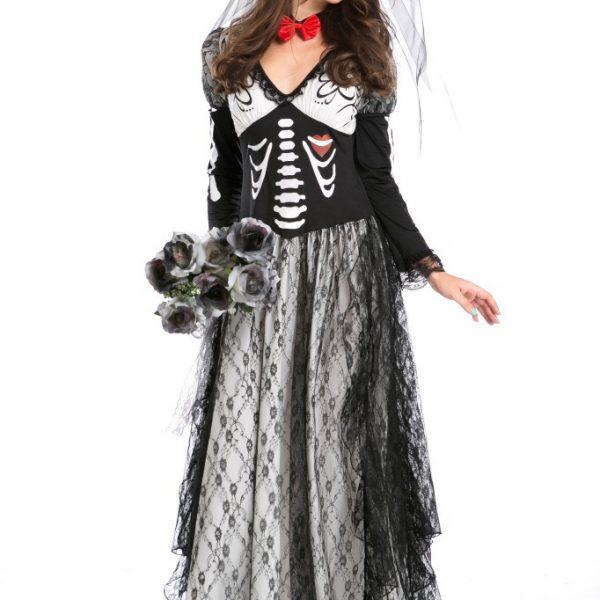 バンパイア ハロウィン 鬼新娘 魔女 プリンセス cosplay ドレス 幽霊 コスチューム衣装 頭蓋骨-Halloween-trw0725-0155