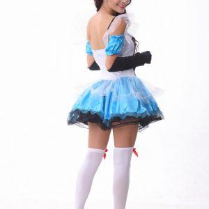 アリス コスチューム 大人(不思議の国のアリス)セクシー ディズニー メイド服 コスプレ メイド  ふしぎの国のアリス 衣装 ハロウィン ロリータ 水色-Halloween-trw0725-0198