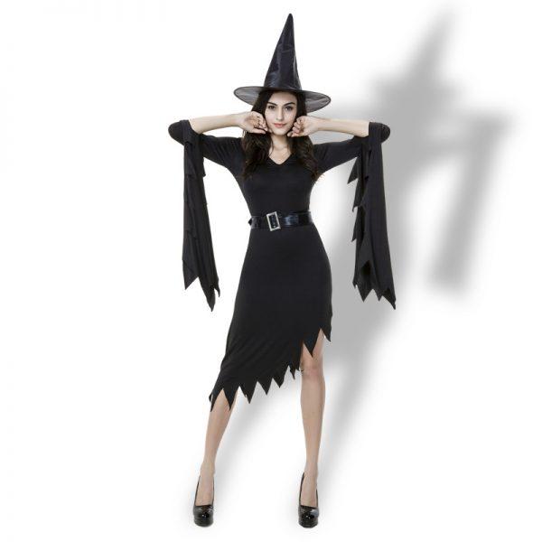 Witch Costumes  ブラック 魔女  ドレス  ハロウィン コスプレ服-Halloween-trw0725-0236