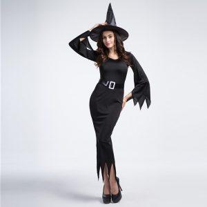 Witch Costume  ブラック 魔女 装 ハロウィン コスプレ衣装 悪魔  巫女 大人用 仮装コスチューム-Halloween-trw0725-0246