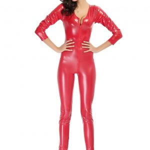キャットスーツのコスチューム レディース(女性) コスプレやハロウィンに全身タイツ!赤 スーツ パーティーの衣装 ボンテージ  赤 ボディースーツ-Halloween-trw0725-0326