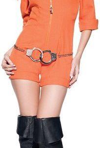 囚人服 ポリス 警官 コスチューム オレンジ ハロウィン コスプレ ボーダー プリズナー コスチューム 衣装 コス-Halloween-trw0725-0363