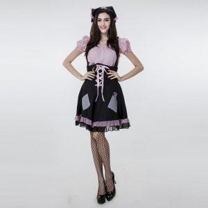 ピンク ドレス ハロウィン メイド パイレーツ 撮影用 仮装パーティー コスプレ衣装-Halloween-trw0725-0491