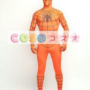 全身タイツ スパイダーマン風 オレンジ色 目が開いている―taitsu-tights1427