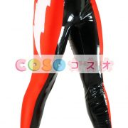 全身タイツ PVC ズボン ブラック&レッド ユニセックス 大人用 カラーブロック レスリング―taitsu-tights0952 3