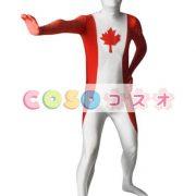 全身タイツ,カナダの国旗柄 ユニセックス 大人用 コスチューム衣装 コスプレ ―taitsu-tights1343 3