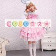 ロリータジャンパースカート,ピンク リボン ラッフル スィート 女の子らしさ満点 コットン  ―Lolita0008 3