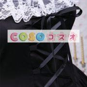 コットン ロリィタワンピース 半袖 ブラック レースアップ 白いレーストリム ―Lolita0136 3