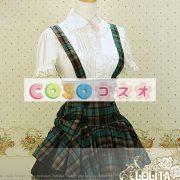 ギンガム ハイウェスト ロリィタスカート サロペットスカート ボタン リボン フリル―Lolita0137 3