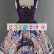 紫のロリータ ドレス ストラップ プリント シフォン ドレス ―Lolita0791 3