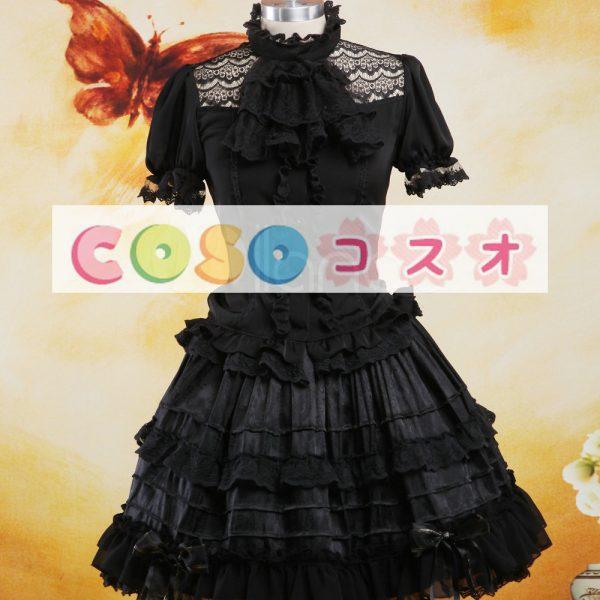 ロリータセパレート,ブラック ショートスリーブ ティアド ゴシック シャツ  ―Lolita0879