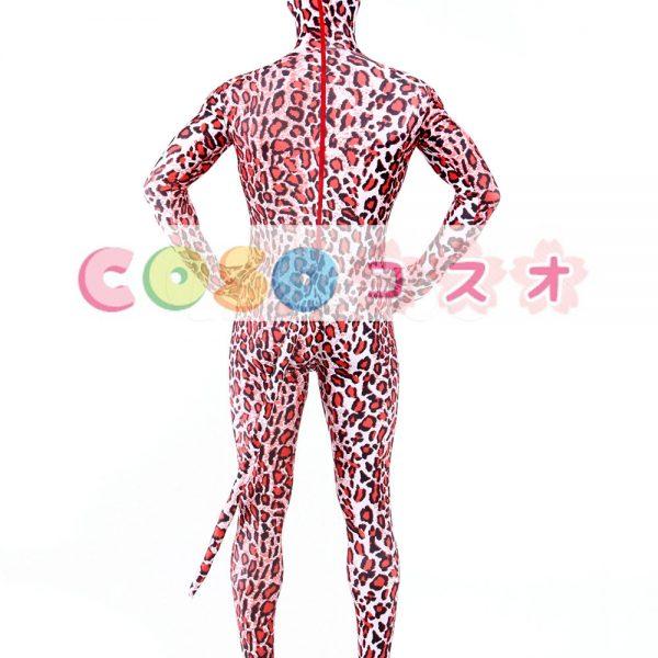 全身タイツ,トラ柄 目と口が開いている全身タイツ レッド 大人用 仮装コスチューム 尾付き―taitsu-tights0868