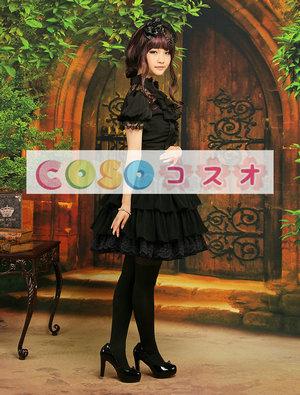 シフォンスカート ブラック ロリィタスカート レーストリム ―Lolita0003