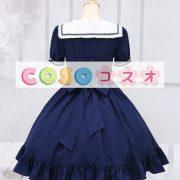 ロリィタワンピース ディープブルー 半袖 セーラースタイル ―Lolita0015 4