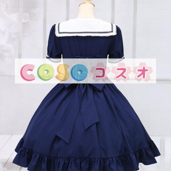 ロリィタワンピース ディープブルー 半袖 セーラースタイル ―Lolita0015