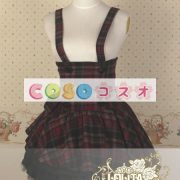 ギンガム ハイウェスト ロリィタスカート サロペットスカート ボタン リボン フリル―Lolita0137 4