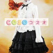 ロリータセパレート,ホワイト&ブラック ロングスリーブ ゴシック 姫袖 リボン  ―Lolita0877 4