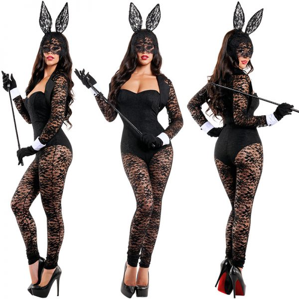 Bunny Costumes レース セクシー ハロウィン コスプレ衣装 ナイトクラブ 制服-Halloween-trw0725-0036