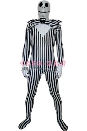 スカルマンの頭 ホワイトとブラックの細いストライブ 蝶ネクタイ ライクラ製―3taitsu0050