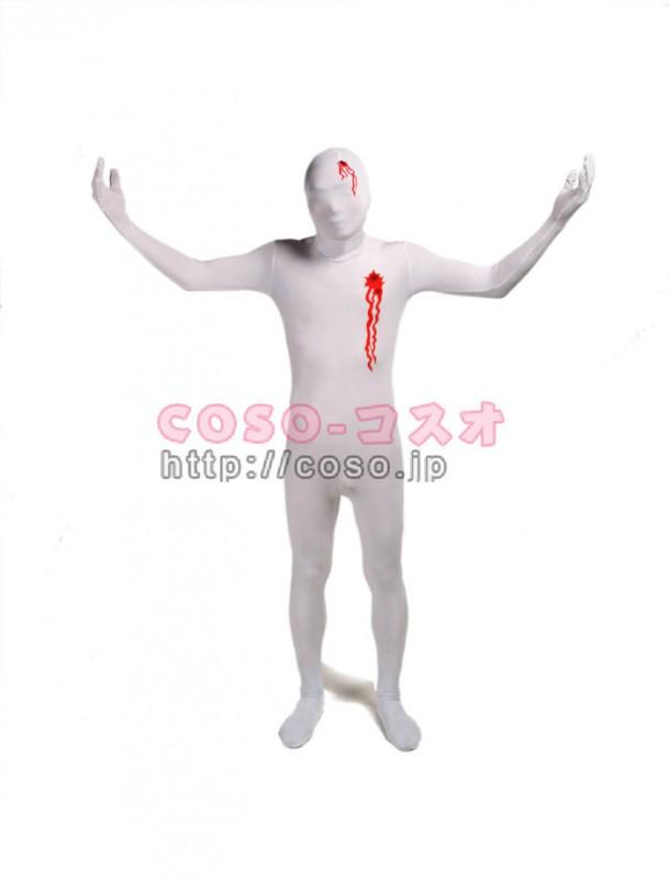 怪我フェチ 血溢れ ホワイト ライクラスパンデックス ―3taitsu0064