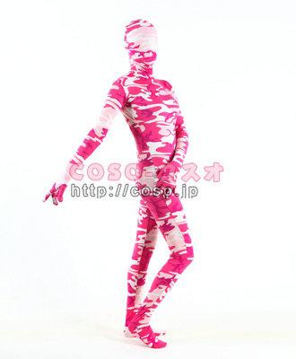 レッドとピンク 花柄 ライクラ製 コスプレ用 変装コスチューム 全身タイツ―5taitsu0002