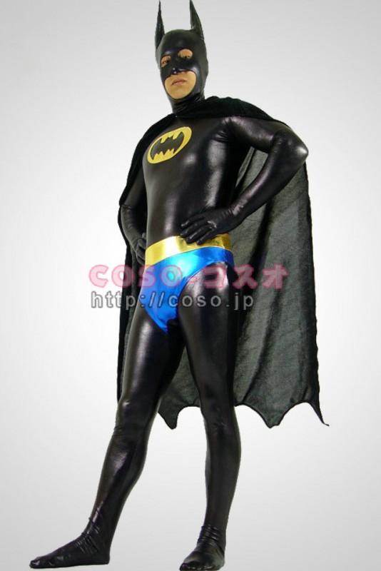 スーパーマン メタリック 黒色 Batman バットマン コスプレ衣装 マント付き―8taitsu0008